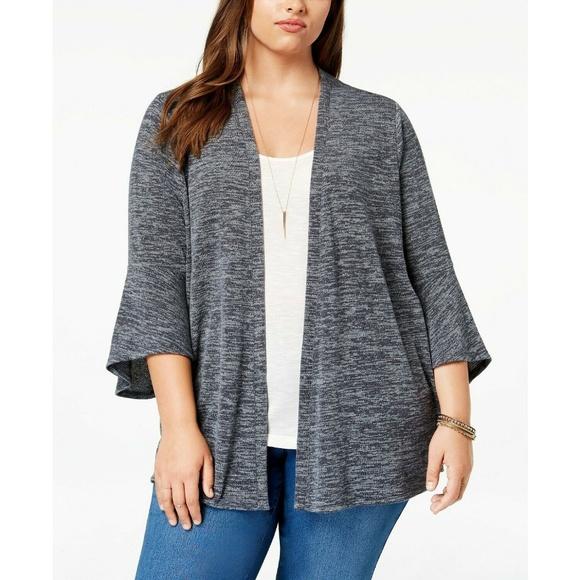 Style & Co Sweaters - Style&Co Gray Lantern-Sleeve Open Cardigan Sweater